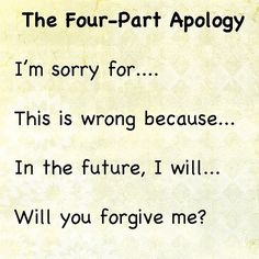 The Four Part Apology; how to help your kids learn to apologize
