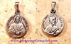 $49 Vintage French double sided slide medal Of Saint Therese Couderc and Saint Francious Regis.  Signed Loudin in tiny letters under Therese's arm