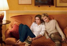 Tina Brown at home in New York with her daughter.