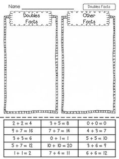 Doubles Addition Printables | Latoya Reed TpT (FREE)