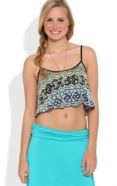 Deb Shops Flowy Crop Top with #Ombre Tribal Print $12.00