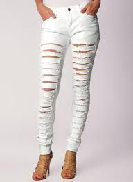 cute white ripped skinny jeans