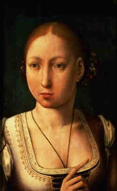 JUANA OF CASTILE (November 16, 1479-April 12, 1555) daughter of Ferdinand of Aragon (d.1516) and Isabella of Castile (d.1504) sister of  Catherine of Aragon. She married Philip the Fair, archduke of Austria, duke of Burgundy, and count of Flanders (1478-1506) in 1496. Upon her husband's death Juana slipped into madness.