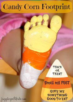 "Fun Halloween decor to do with the kids ""smelly"" feet. Candy Corn footprints make an adorable keepsake. Jugglingwithkids.com"