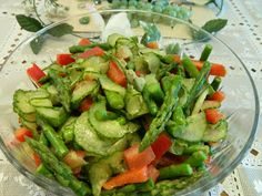 Ginny's Low Carb Kitchen: Marinated Asparagus and Vegetable Salad vegetable salads, veget salad, lowcarb