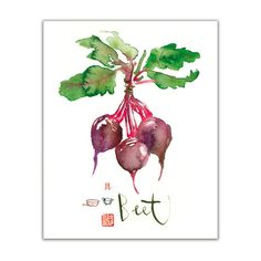 Vegetable poster, Watercolor Beet print, Art for kitchen, Food painting, Green botanical artwork, Garden, Purple wall decor