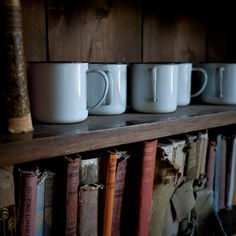 coffee mugs and old books... what else could you possibly need