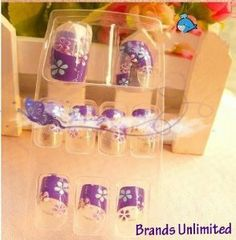 24pcs purple french tip fashion 3d acrylic party false nail art 24 tips glue by myvista - Recognize high quality clothesuseful tricks ...