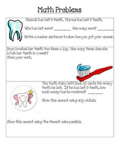 dental health math, writing (letter to tooth fairy) & other printables