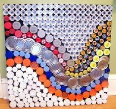 bottl top, bottle caps, recycled bottles, bottl cap, art i like, recycled art, bottle art, art projects, recycle art