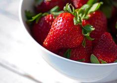 Summer Strawberries bright bold color picnic food by AmandaRaeK