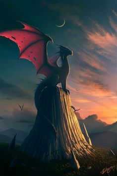 mystic, fantasi, concept art, dragons, sunsets, nick deligari, fairi tale, dragon art, fantasy creatures