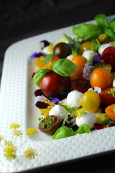 heirloom tomato & mozzarella with flowers & herbs #summerfest
