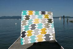 hooked hexagons quilt top