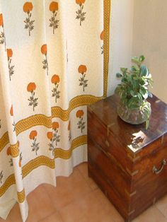 """""""Wedding Day"""" ~ Yellow Floral India Inspired Cotton Shower Curtain from Saffron Marigold...also comes as a duvet and tablecloth.  love!!!!"""