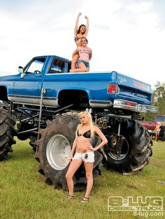 girls just love jacked up chevys!