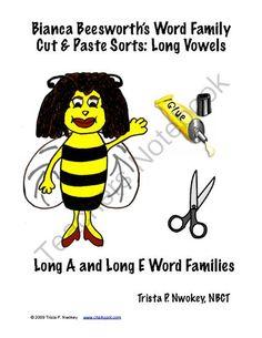 Phonics: Long Vowel Cut & Paste Sorts (Long A & Long E) from Chalkspot.com on TeachersNotebook.com -  (11 pages)  - Long A and Long E Word Family Phonics Sorts for your Literacy Center!