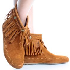 Tan-Suede Boho Tribal Indian Fringe Moccasins Women Flat Ankle Booties