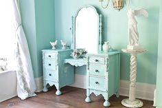 J'adore! I'm one to whitewash everything, but boy would this be sweet in the Beach Cottage! antique vanity shabby chic aqua blue by VintageChicFurniture