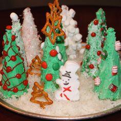 Christmas tree ice cream cone craft!! The boys loved it.