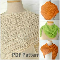 PDF Knitting Pattern Knit Lace Shawl in Two by WindyCityKnits