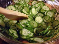 Sweet and Sour Cucumbers! I have been looking everywhere for this recipe! Can't wait to make them :D