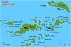 Map of the British Virgin Islands.