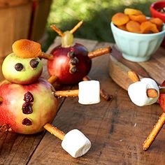 bring your apples to life with edible arms and legs and even little shirt buttons.