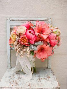 Peach Wedding Bouquet.