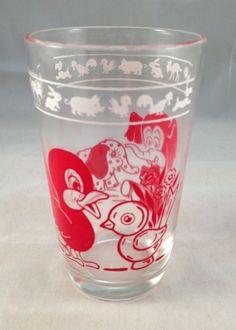 Swanky Swig Animal Juice Glass Red Vintage