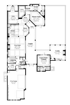 "Lower Level Floor Plan. The Sater Design Collection's luxury, courtyard home plan ""Casoria"" (Plan #6797). saterdesign.com"