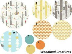 Sweet fabrics for a custom crib set by the Etsy shop JujuBelleDesigns.