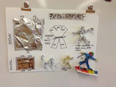 Menu for 3-D center on tinfoil sculpture-would be a good in between for 6th grade