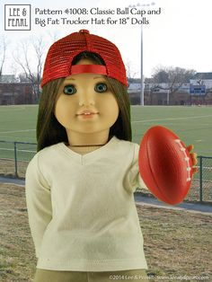 """L&P Pattern #1008: Classic Ball Cap and Big Fat Trucker Hat for 18"""" Dolls (American Girl Dolls) by leeandpearl"""