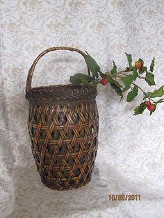 Antique Japanese Ikebana Bamboo Basket