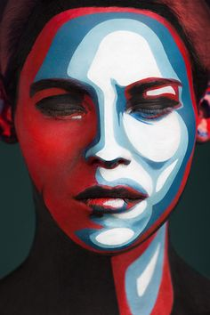 Valeriya Kutsan & Alexander Khokhlov Faces of Models Transformed Into 2D Images with Face Paint face painting