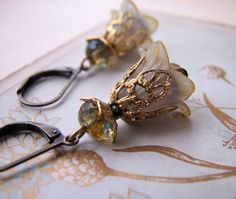 pretty Olive Topaz Shabby Flower earrings crystal by shadowjewels