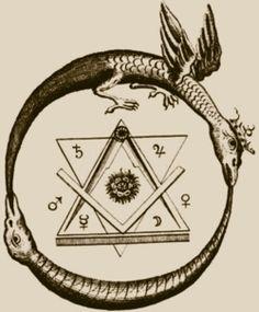 """En el simbolismo alquímico, el ouroboros es el símbolo gráfico de un proceso cerrado en sí mismo que transcurre repetidamente y que al calentar, evaporar, enfriar y condensar un líquido, debe servir para el refinamiento de sustancias: veneno, víbora, disolvente universal, son símbolos de lo indiferenciado, del """"principio invariante"""" o común que pasa entre las cosas y las liga, es la disolución de los cuerpos, la serpiente universal que, según los gnósticos camina a través de todas las cosas. A m"""