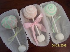 Cake Ball Baby Rattles.   What a cute and beautiful idea for a baby shower or the welcome home new baby!  I wish they were some pregnant people in my family or friends
