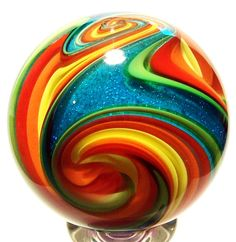 "Eddie Seese Art Glass Marbles: 2"" Exotic Dichroic Turquoise Tetrisphere Marble. $125.00, via Etsy."