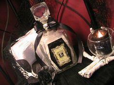 Halloween Victorian Gothic Decor Arsenic Bottle in Vintage Glass