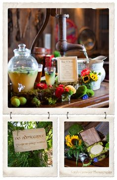 No Admittance except on Party Business Sign.  Custom Woodpress Hobbit Wedding Invitation.  Signature Cocktail Ent Draught: Sweet Tea, Vodka, Herbs, and Blueberry Garnish.