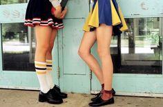 Ankle sheer socks, athletic knee highs and cheerleader skirts.