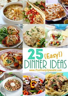 25 Easy Dinner Recipe ideas. Such a great list! Includes chicken, beef, meatless, slow cooker, soups and more..