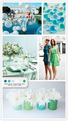 """Color Palette: Cerulean, Turquoise, Sky, White, Mint, Jade - whoever said that """"blue and green are never seen"""" were soooo wrong. They are so great together :)"""
