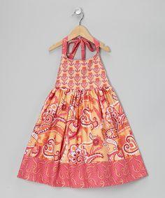 Peach Paisley Halter Dress - Toddler & Girls