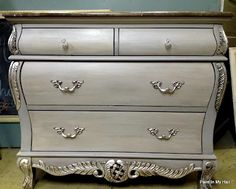 Limited DIY:  Gorgeous bombé chest finished in Paris Grey, Graphite & Old White Chalk Paint® decorative paint by Annie Sloan - Jessica of Paint In My Hair