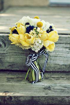 yellow flowers, yellow weddings, bridal bouquets, color, tulip, ribbon, white bouquets, blue bridesmaid dresses, blues