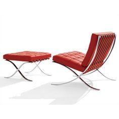 Knoll ® Barcelona® Chair and Optional Stool barcelonachair, barcelona chair, van der, der rohe, chairs, furnitur, design, mie van, ludwig mie