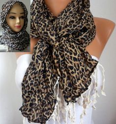 Leopard Scarf  Cotton Scarf  Headband Necklace Cowl by fatwoman, $19.00